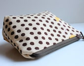 Zipper Pouch Cosmetic Bag - Yellow Bird on Brown Dots