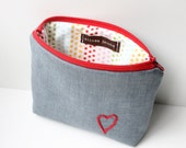 Zipper Pouch Cosmetic Bag - Hand Embroidery Heart Make Up Bag, Red and Gray