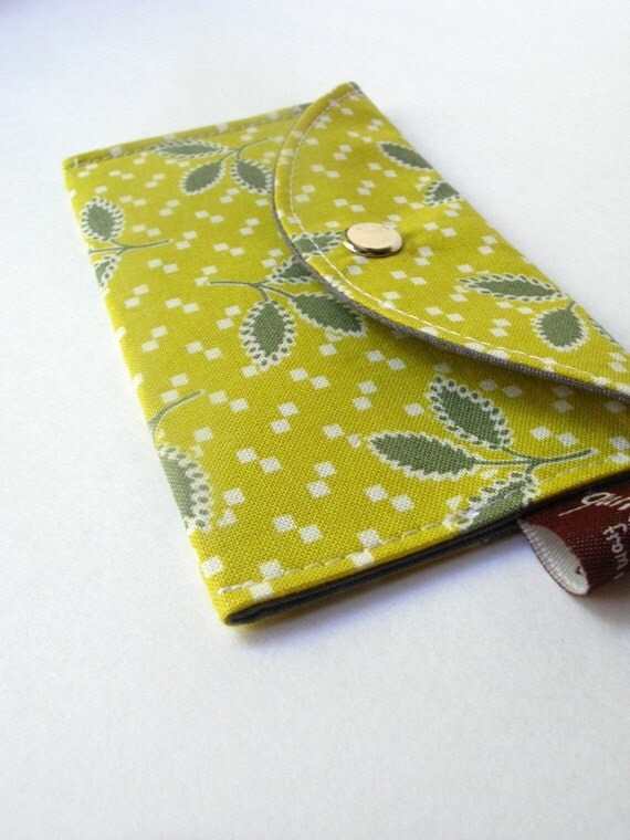 Card Case- Business Card Holder- Chartreuse and Gray Leaves