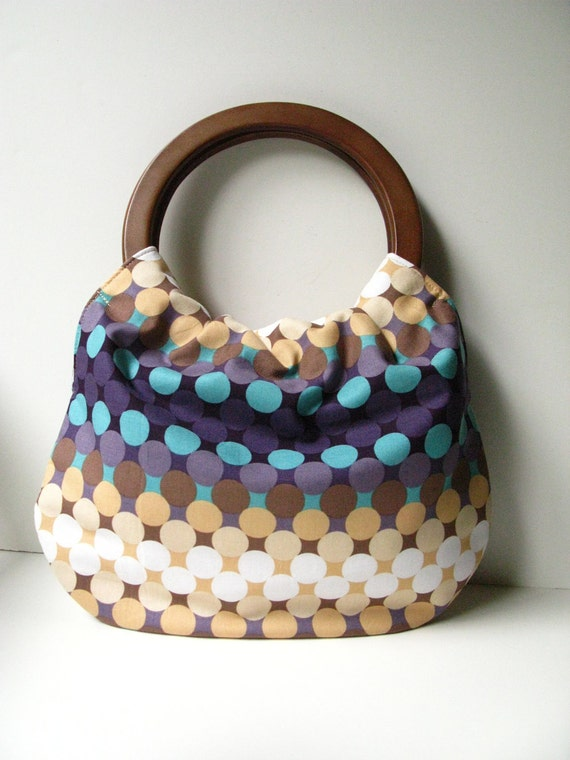 Handbag Purse with Wood Handle - Plum Ombre Dot with Interior Zipper Pocket READY TO SHIP