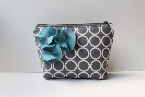 Zipper Pouch Cosmetic Bag - Pewter Circles with Cadet Blue Flowers
