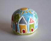 Miniature Clay House Ball Globe