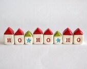 HO HO HO Little House Ceramic Christmas Village - white red green blueBlack Friday Etsy Cyber Monday Etsy sale