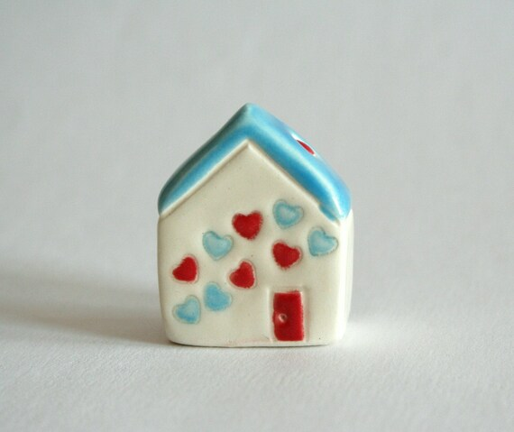 SALE Confetti Hearts - red aqua blue white - little clay house