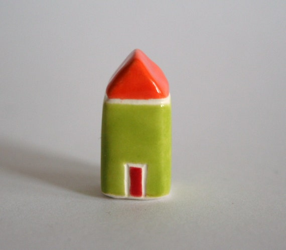 Little Clay House - orange lime green - Miniature Ceramic Cottage