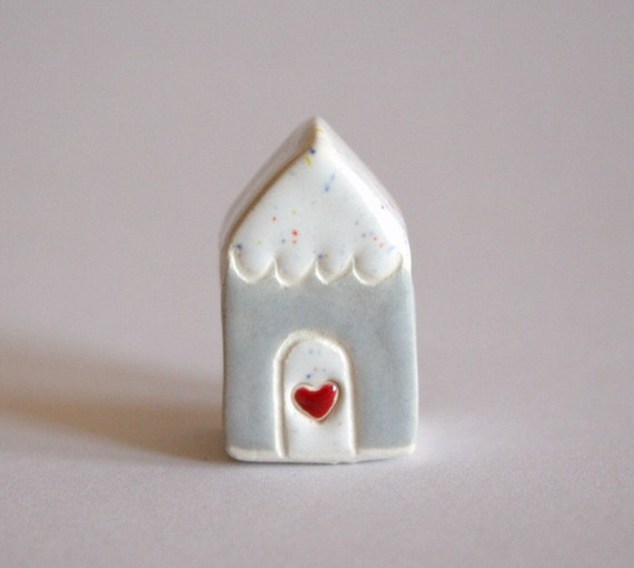 Little Clay House - Gray Grey White Red- Miniature Ceramic Cottage