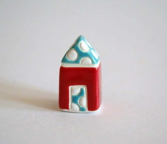 Confetti Dots House - Red White Blue - little clay house