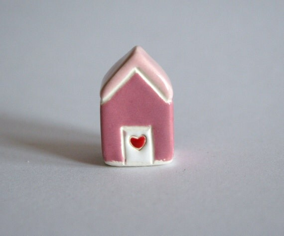 SALE Mothers Day gift Little Clay House  Miniature Ceramic Cottage Figurine