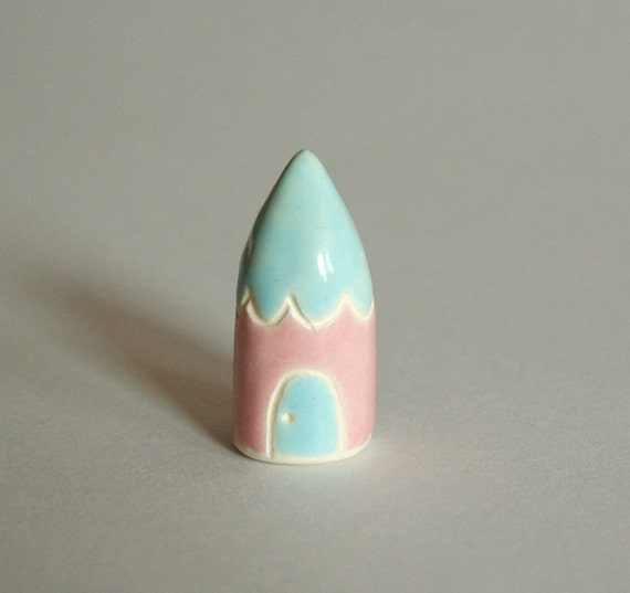 Little Gnome Home Miniature Clay House Terrarium House  Pink Blue