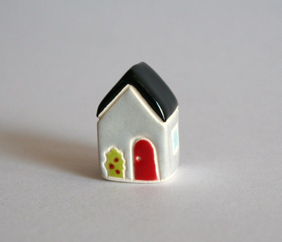 Rose Bush Cottage Little House - Gray Black Red - Miniature Ceramic Clay
