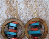 Shell Circle with Onyx, Turquoise and Coral