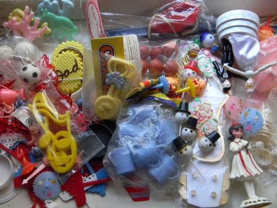 SALE - Over 125 Vintage Cake Decorations & Dime Store Toys