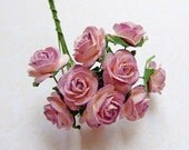 2 tone Pink/Lilac paper Roses Supplies - 10 Stalks LAST ONES