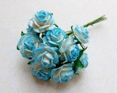 2 tone Blue/White paper Roses Supplies - No. 15