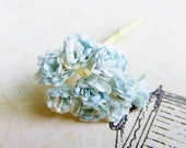 2 Tone Pastel Blue/ White Paper Flower Supplies - 10 Stalks