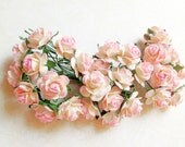 Handmade NEW 2 Tone Light Pink/ Cream paper Roses Supplies - 20 Stalks