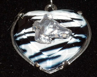Greyhound Dog Jewelry Pendant Necklace Black and White Stripe Glass Heart