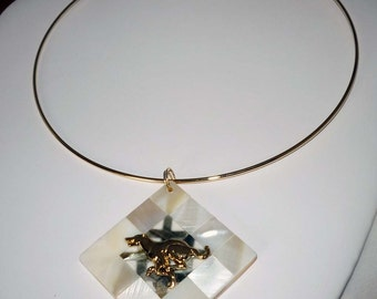Choker with MOP Mosaic Pendant and GP Sprinting Greyhound or Whippet
