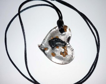 Artglass Pendant Necklace with Czech Glass Greyhound Dog Profile