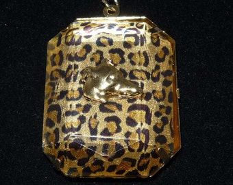 GP Greyhound Dog Profile on Animal Print Pendant Necklace Whippet