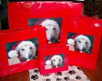 Set of 4 Santa Greyhound Dog Gift Wrap Bags Whippet