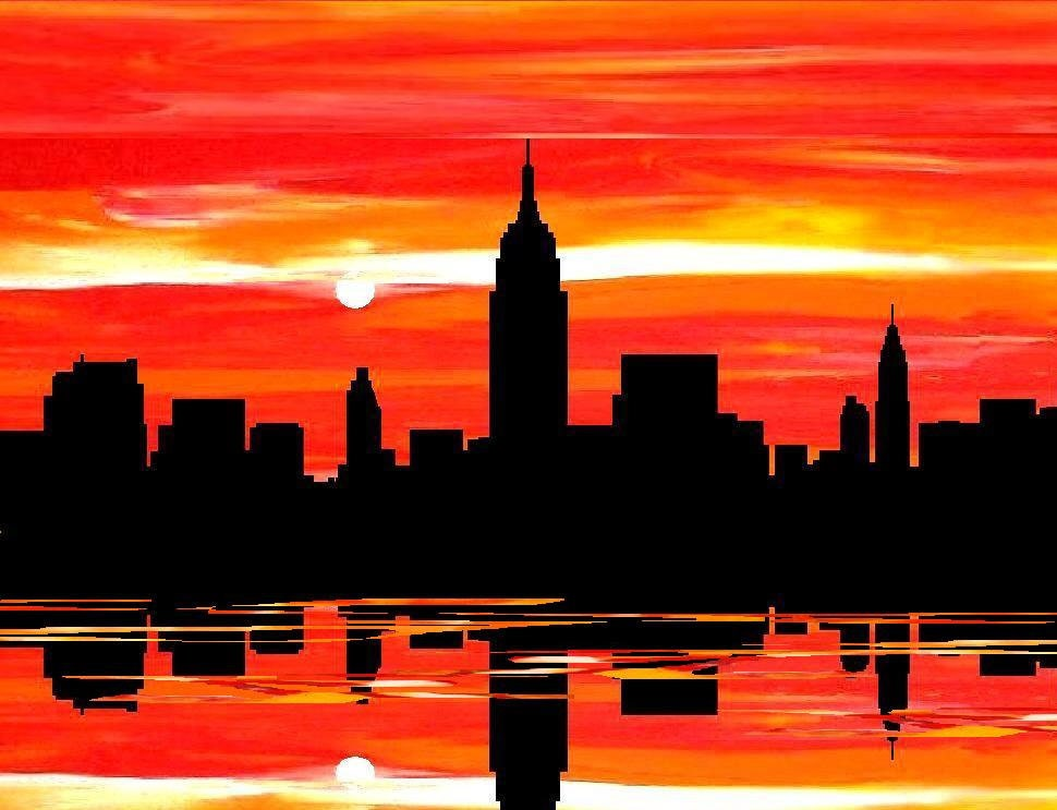 Unavailable listing on etsy for New york skyline painting