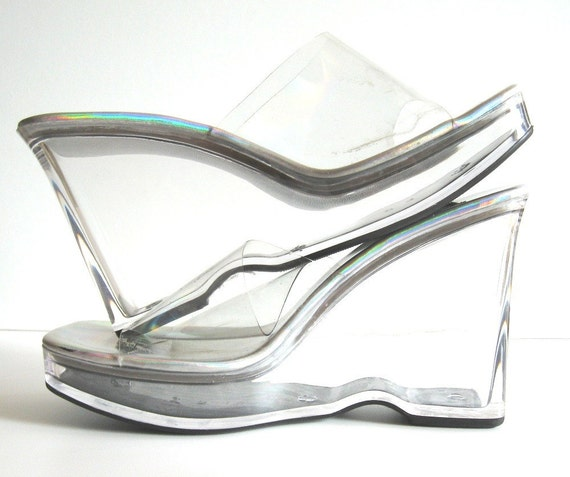 vintage disco chic clear acrylic slip on open toe platform