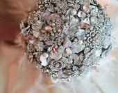Deposit on a rich rhinestone and blush pink brooch bridal wedding bouquet--made to order brooch bouquet