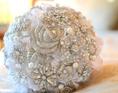 Deposit on a crystal rose brooch bridal bouquet -- made-to-order wedding bouquet