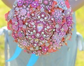 Deposit for an Indian summer brooch bridal bouquet -- made-to-order wedding bouquet