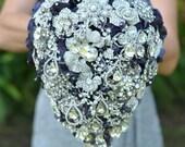 Cascading teardrop brooch bouquet -- deposit on a made-to-order bridal bouquet