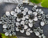 Black and white crystal flower clutch -- ready to ship bridal purse