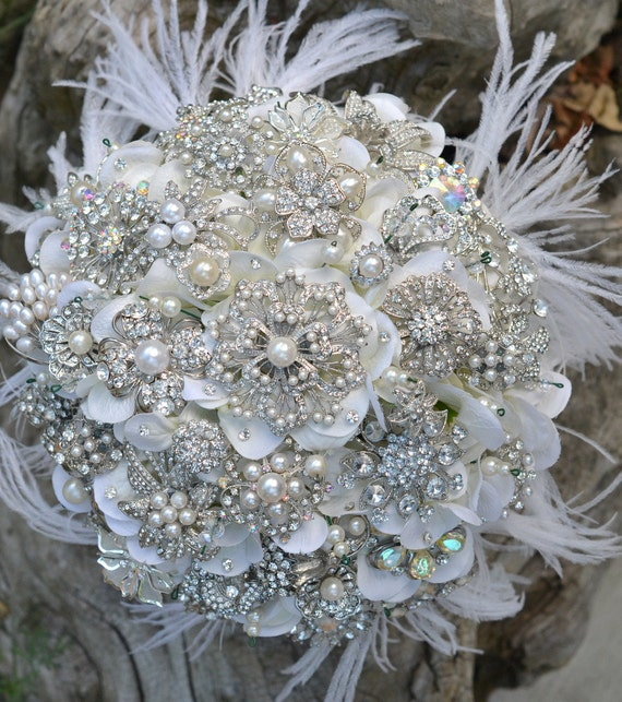 Deposit for an heirloom rich pearl brooch bouquet with ostrich feathers -- made-to-order bridal bouquet