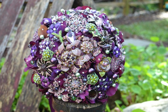 Deposit on an heirloom purple and green brooch bridal brooch bouquet--made to order wedding bouquet