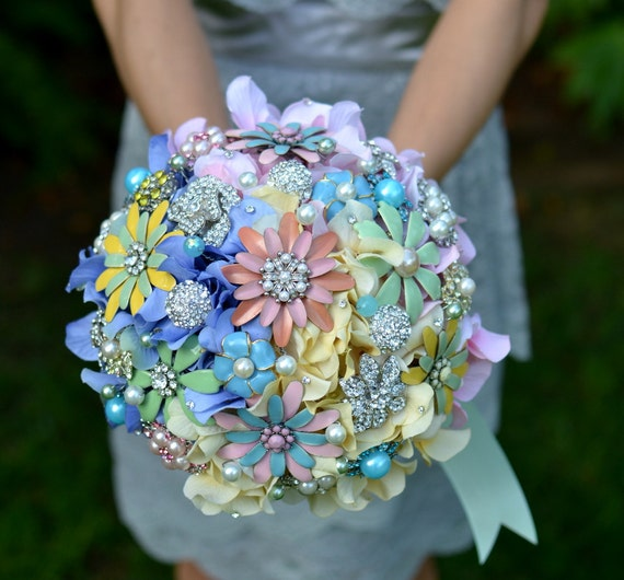 Deposit on a vintage gumdrop jeweled bouquet -- made to order wedding bouquet