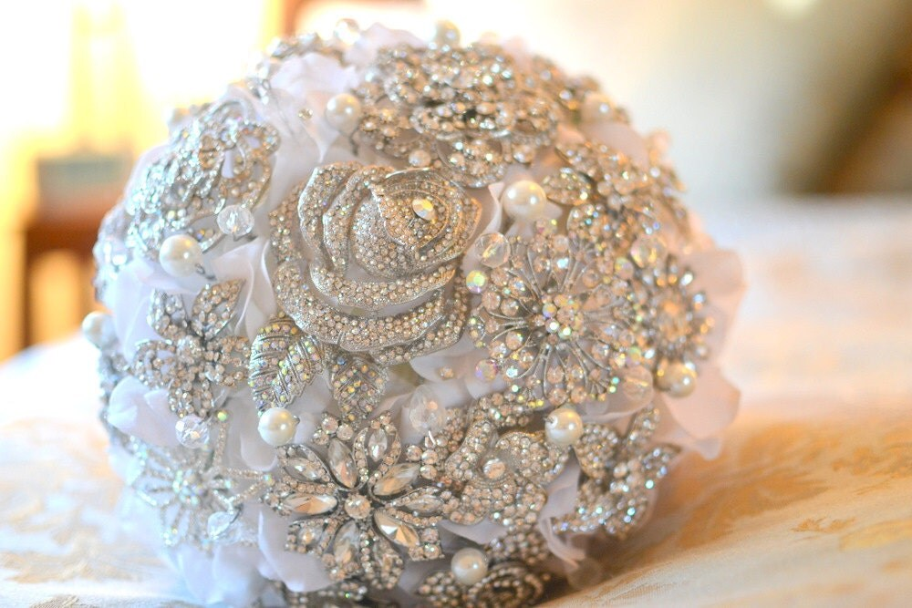Deposit On A Crystal Rose Brooch Bridal Bouquet
