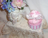 CUPCAKE SHABBY COTTAGE CHIC PINCUSHIONS ROSES PEARLS RIBBON