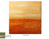 Orange Abstract Modern Art Textured Painting Red Orange Yellow Sunset Colours 30x30