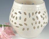 Pretty Little Liars White  Pottery Luminary, Candle Holder, Lantern, Wedding
