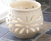 Pottery Candle Luminary, Candle Holder Votive, Pretty Little Liars, White Wedding Handmade Ceramic Lantern, Valentine's Day Gift