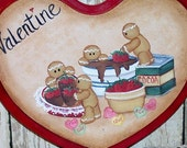 Valentine Heart Plaque Gingerbread Hand painted  OFG50Club