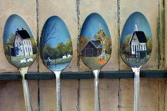Hand Painted Spoons Spoon Rack Amish Farm Saltbox By