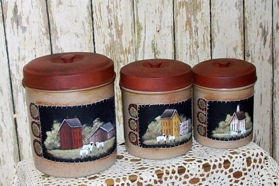 Kitchen Canister Set Primitive Folk Art Saltbox Penny Rug
