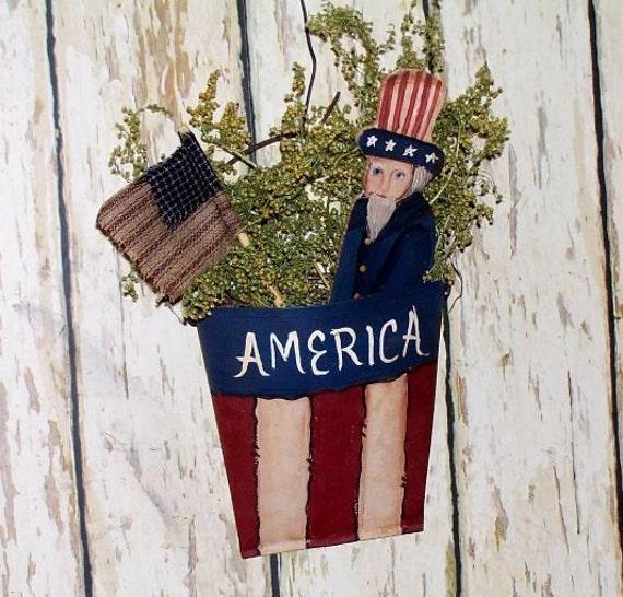 Uncle Sam Tin Wall Pocket Americana Primitive Folk Art  OFG team
