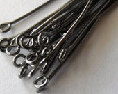 1 inch Gunmetal Black Plated Eye Pins, 21 Gauge, Thick Wire, Pack of 100 *CLEARANCE*