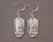 Spoon Jewelry  Earrings - 1950 DAFFODIL Vintage Silver Spoon Earring - Silverware jewelry