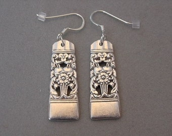 Spoon Jewelry Earrings 1936 CORONATION Vintage Silver  SPOON EARRINGS Silverware Jewelry