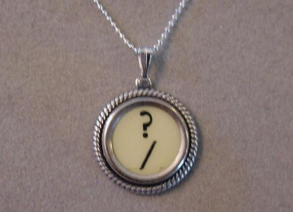 Typewriter Key Jewelry Necklace Cream QUESTION MARK Typewriter key Necklace with sterling silver chain