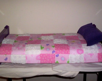 Handmade Wooden Painted Doll Bed AND Bedding