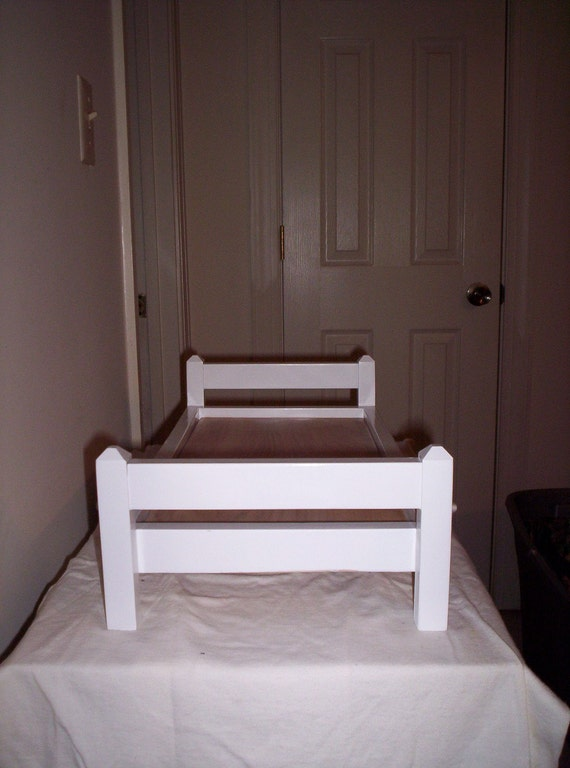 Handmade Wooden Doll Bed - White - fits American Girl, Bitty Baby, Bitty Twins, Stuffed Animals, etc